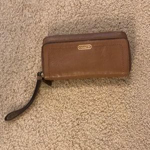 Camel color Coach wristlet
